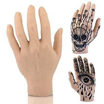 AFLIFLI Fake Tattoo Supplies Soft Silicone Tattoo Practice Hand Training Education Model Skin for Tattoo Artists and Beginners - Left Hand