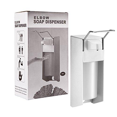 Konesky Desinfektionsspender, 500 ml Desinfektionsmittel Spender Aluminiumlegierung mit Wandbefestigung Hygienischem Eurospender Elbow Pressure Handwaschspender Medizinprodukte für Küche, WC