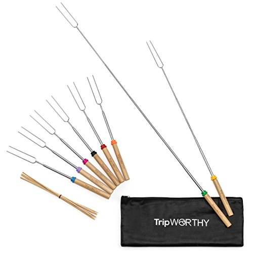 Marshmallow Roasting Sticks with 10 Bamboo Skewers (Kid Friendly) - Set of 8 Stainless Steel Roasting Sticks for Campfire & Fire Pit