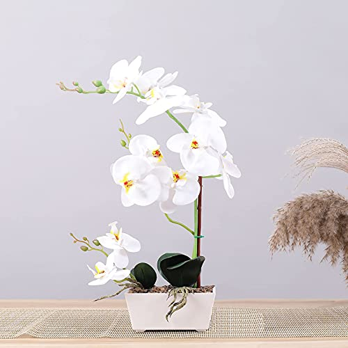 White Artificial Orchids for Home Decor Indoor,18 Inch Fake Orchid 11 Head Artificial Orchid Flower(Pot NO Print) …