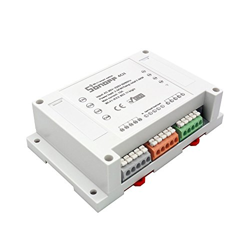 Sonoff 4CH 4 Kanal DIN Schienenmontage WLAN Schalter für DIY Smart Home, Fernbedienbare Steuerung für 4 unabhängige Anwendungen