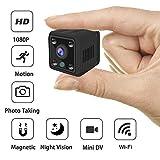 Mini Kamera Full HD 1080P, Überwachungskamera Mini Cam mit Infrarot Nachtsicht und Bewegungserkennung, für Indoor/Baby/Nanny/Haustier Cam(Ohne Akku)