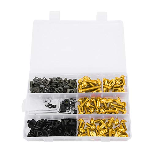 198Pcs/Set Kit de pernos de carenado, Kit de pernos de carenado universal para motocicleta Tornillos Sujetadores Kits de montaje de carrocería Arandelas Tuercas Tornillos Surtido de clips(dorado)
