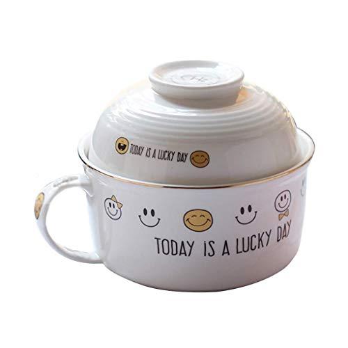 Accueil grand poignet Smiley bol de nouilles instantanées bol en céramique avec couvercle dortoir étudiant bol de riz cuisine ustensiles de cuisine bol blanc cadeau) hôtel décoratif bol à soupe rétro