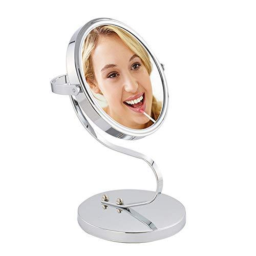 Double Face Miroir Grossissant de Table 17 cm Grossissement 3 fois Rotation de 360 degrés Base antidérapante