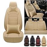 Fundas de asiento de coche personalizadas 5 asientos para Toyota yaris 2002-2021 fundas de asiento de cuero delantero y trasero con reposacabezas y cojines lumbares, color beige