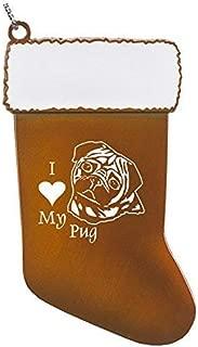 Pewter Christmas Stocking Ornament-I love my Pug-Orange