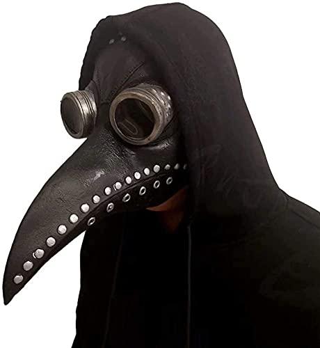Mscara de Doctor Plaga de Ltex, KEEHOM Pico de Pjaro de Nariz Larga Steampunk Disfraces de Halloween Cosplay, Costume para Adulto, Cinturn Ajustable, Negro