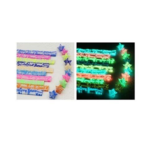 Origami-Streifen aus leuchtenden Sternen, Glückssternen, leuchtenden Nachtlichtern, farbigem Papier leuchten nachts, kleine Stapel fluoreszierender Papierstapel mit glitzerndem Goldpulver-A8