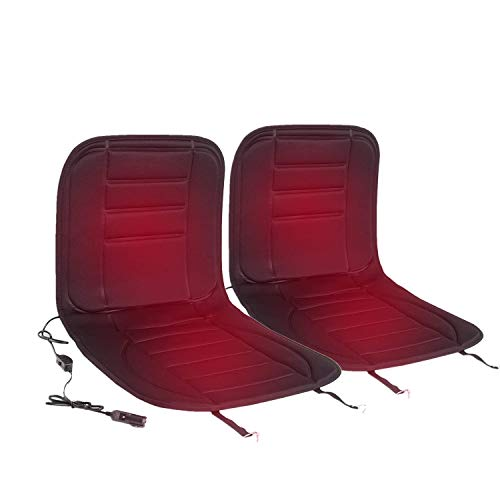 WOLTU 2er Set Sitzheizung Auto Heizkissen Heizauflagen Heizung für Sitz & Rücken Überhitzungsschutz 12V 98 cm x 48 cm Schwarz