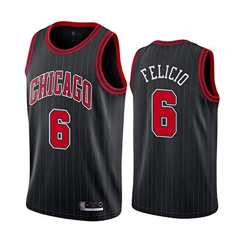 Jerseys De Baloncesto para Hombre - NBA Chicago Bulls # 6 Cristiano-Felicio Bordado Bordado Transpirable Resistente Al Desgaste T-Shirt (Color: Negro),L(175~180cm)