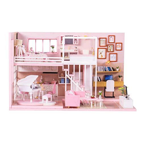 XJLJ Casa De Mu?ecasBricolaje Ensamblado Creative Dream Girl Heart Doll House Regalos De NavidadKitMueblesDecoración