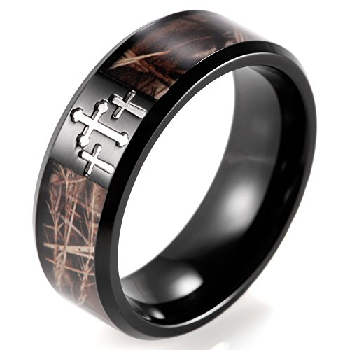 SHARDON Men's 8mm Plating Black Titanium Wedding Ring with Contrasting Engraved Crosses and Brown Camouflage Inlaid Size 10.5