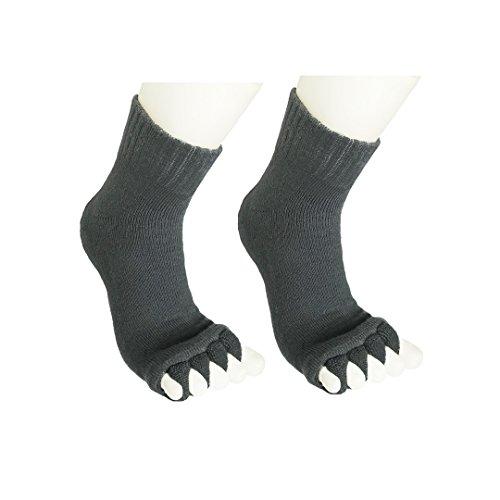 Natural Home Damen Zehenspreizer Wellness Socken Zehentrenner Pediküre Fuß Massage Socken (Grau)