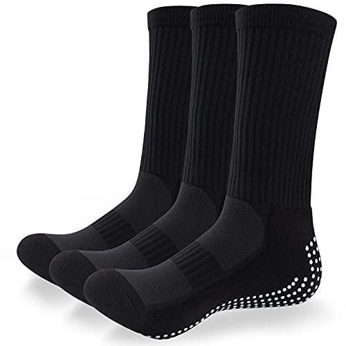TANSTC Men's Socks 3 Pairs Anti-slip Football Soccer Basketball Hockey Sports Socks Breathable Athletic Casual Socks Unisex Multipack Hiking Trekking Running Cotton Socks