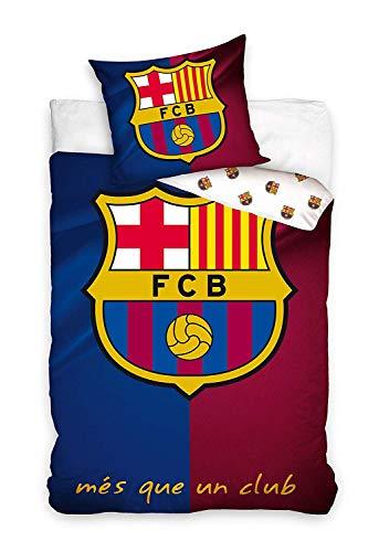 Carbotex - FCB6001 - FC Barcelona Single Bed Set MES Que Un Club Original Logo Duvet Cover and Pillowcase - Multicolor - 100% Cotton - 140x200cm and Pillowcase 50x70cm