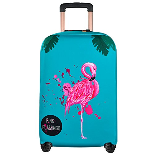 Emasun luggage cover protector, washable luggage cover, flamingo suitcase Pattern Dustproof Stretchy (M)