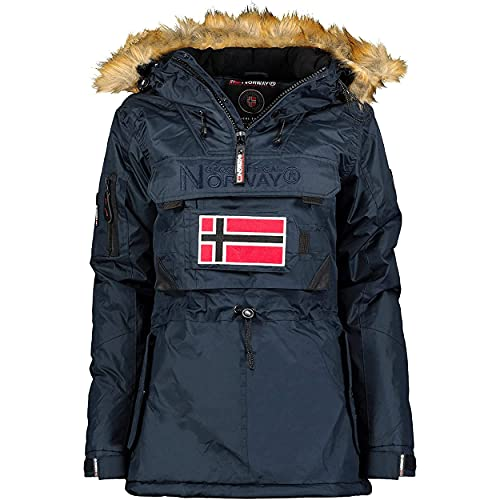 Geographical Norway Bulle Lady - Parka Chaude Femme Imperméable - Manteau Épais Capuche Outdoor - Blouson Chaud Coupe Vent Hiver - Doublure Extérieur Veste Femmes Bleu Marine L