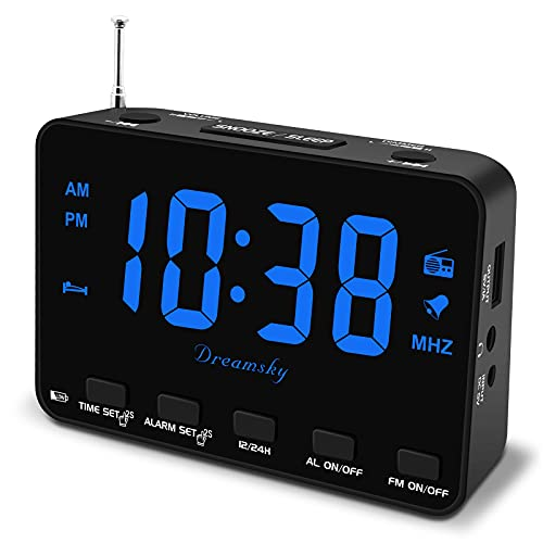 DreamSky Alarm Clock Radio for Bedroom, Small Digital Clock with Backup Battery Outlet Powered, Transistor FM Clock Radio with USB Charger 0-100% Dimmer, Bedside Clock with Earphone Jack Snooze 12/24H