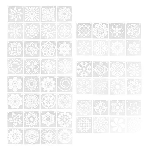 Artibetter 56 Stks Mandala Dot Schilderen Sjablonen Stencils Opengewerkte Kleur Tekening Sjabloon Voor Ambachtelijke Kunst Projecten Decoraties Op Steen Hout Fabic Glazen Wanden (Wit)