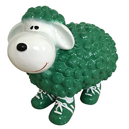 OF Gartenfiguren für außen - Schaf Grün Weiß mit Turnschuhen für Garten, Balkon oder Terrasse - Dekofigur
