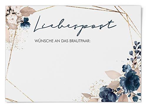 Ballonflugkarten zur Hochzeit 50 Stück, extra leichte Postkarten für langen Flug, Platz für Glückwünsche (Watercolor Breeze Blau)
