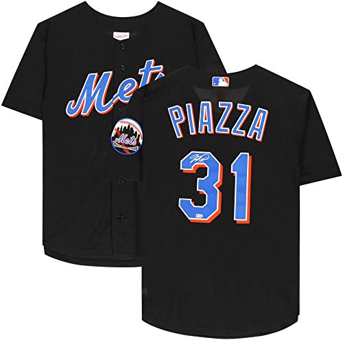 Mike Piazza Mets Autographed Black Jersey - Autographed MLB Jerseys