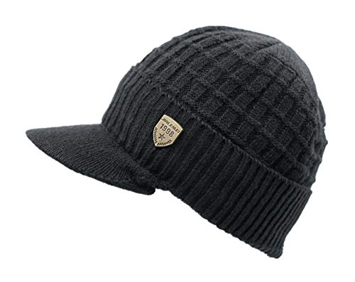 LLmoway Men Women Winter Knit Hat with Visor Warm Cuff Beanie Fleece Lined Snow Ski Skull Cap Black