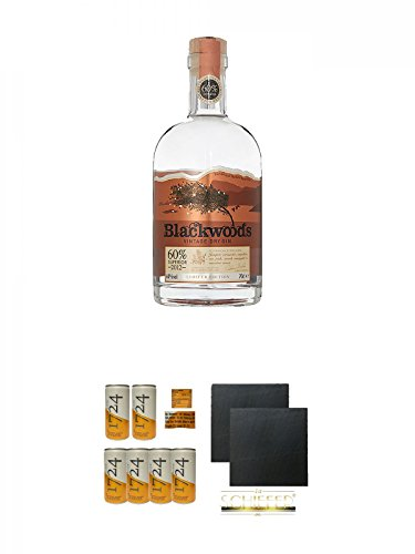 Blackwoods Vintage Dry Gin 60% 0,7 Liter + Tonic Water 1724 Dose 6 x 0,20 Liter + Schiefer Glasuntersetzer eckig ca. 9,5 cm Ø 2 Stück