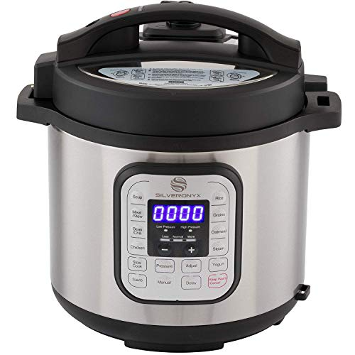 SilverOnyx 10-in-1 Programmable Pressure Cooker 6 Quarts with Stainless Steel Pot, Steamer & Warmer, Recipe Book Included. Instant Pressure Cook, Slow Cook, Sauté, Rice Cooker, Yogurt Maker - 6 Quart (Renewed)
