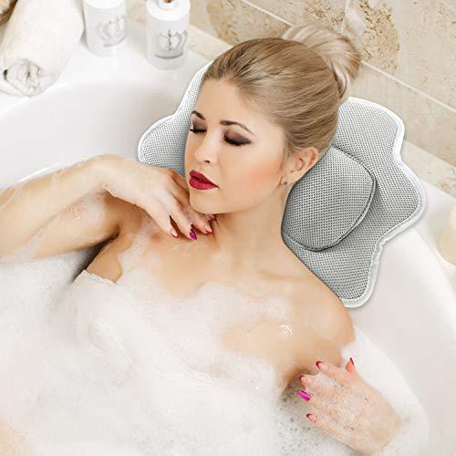 YISUN Badewannenkissen, Badekissen Wannenkissen Badewanne mit Saugnäpfen Home SPA Kopfstütze für Nackenkissen Whirlpool 5D Air Mesh Ergonomische Bade-Kissen (Grau)