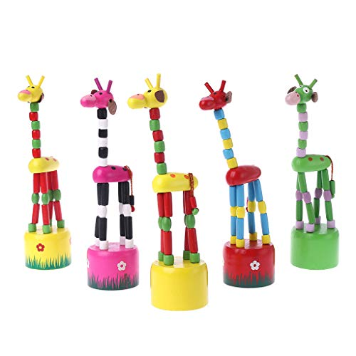 Rongzou Funny Baby Kids Intelligence Developmental Educational Wooden Colorful Rocking Giraffe Toy Dancing Stand Gift