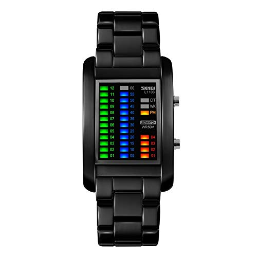 FeiWen Fashion Unico Binario Relojes de Pulsera Unisex 50M Impermeable Fecha Multicolor LED Luz Outdoor Deportivo Digitales Electrónica Rectangular Acero Inoxidable Reloj, Negro