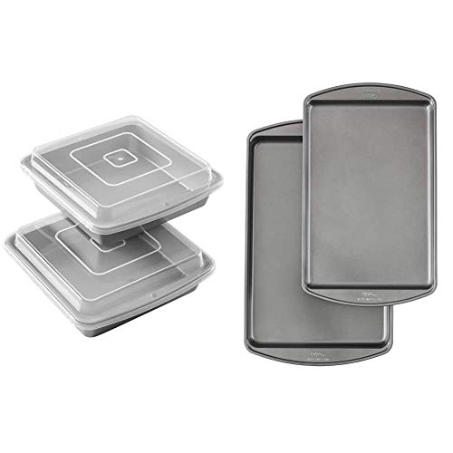Wilton Recipe Right Non-Stick 9-Inch Square Baking Pan with Lid, Set of 2 & Perfect Results Premium Non-Stick Bakeware Cookie Baking Sheets Set, 2-Piece