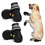 AOKOWN Dog Boots, Waterproof Dog Booties/Pet Rain Boots/Dog Outdoor Shoes for Medium to Large Dogs with 2 Reflective Fastening Straps Rugged Anti-Slip Sole,4 PCS (Size 6 (LW:2.952.6 in), Black)