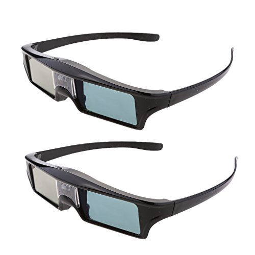 2 Pieces DLP Link 3D Glasses, Ultra-Clear HD 144 Hz 3D Active Rechargeable & Lightweight Shutter Glasses for All 3D DLP Projectors-BenQ, Optoma, Dell, Mitsubishi etc