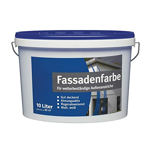 BODENMEISTER 1000 Fassadenfarbe Außen-Dispersionsfarbe, weiß matt, 10 Liter