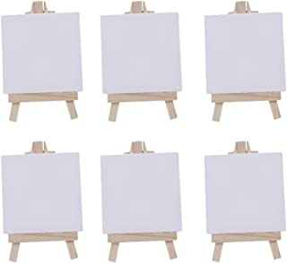 Toyvian 6 Sets Mini Canvas White Blank Small Canvas with Wooden Easel Canvas Panel Boards for Artist Painting Business Wed...