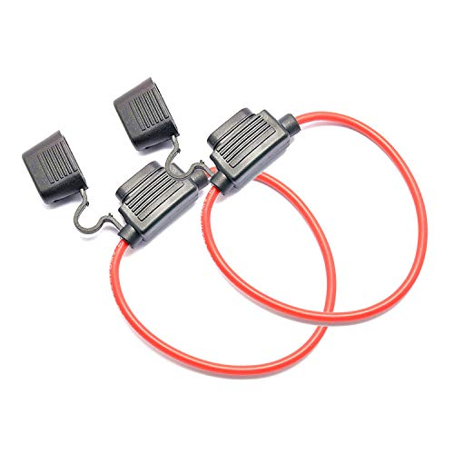 WOWOONE 2 Pack 12V Inline Fuse Holder 16 Gauge for up to 30A Fuses, Standard Blade 30 Amp Fuse Holders, Waterproof with Cap and Red Power Cable Wire 16 awg (No Fuse)