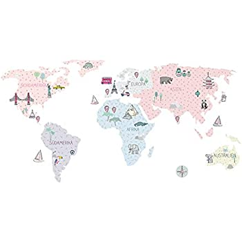 Wandtattoo Wandaufkleber Sticker Kinderzimmer 3d Xxl Rosa Weltkarte S 100x50 Cm Deko Natur Wandsticker Baby Madchen Junge Amazon De Kuche Haushalt