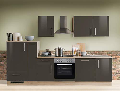 expendio Küchenzeile Unico 300 cm Lava Hochglanz mit Geschirrspüler E-Geräte Küchenblock Einbauküche Komplett-Küche Dekor Sonoma Eiche