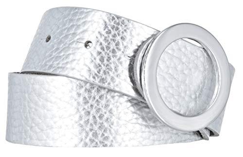 Bernd Götz Gürtel Damen Leder 35 mm Nappaleder Moonlight kürzbar Damengürtel Jeansgürtel (Silber, 105)