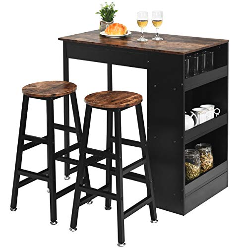 Giantex 3 Piece Pub Dining Set, Wooden Counter Height Table Set with 2 Bar Stools, Industrial Bar Table Set, Sturdy Kitchen Table with Storage for Kitchen, Restaurant, Living Room (Brown)
