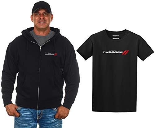 JH DESIGN GROUP Herren Dodge Charger Kapuzenpullover und T-Shirt, Geschenkset - Schwarz - X-Groß