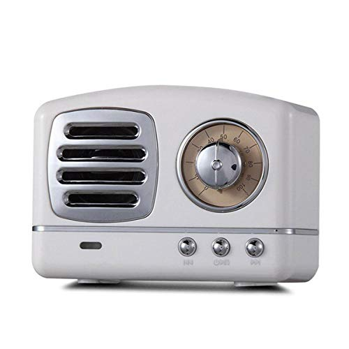 Yi-xir Fashion Design Sintonizador Retro Altavoz Bluetooth Portátil FM Radio TF Tarjeta U Disk 3.5mm Altavoz de Audio con Mic Wireless Portable Travel (Color : White)
