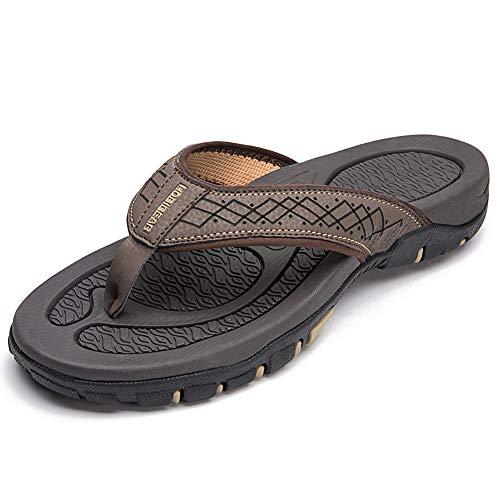 HOBIBEAR Mens Flip Flops Sport Thong Sandals Comfort for Outdoor Beach Shoes(Brown-b Size 7)