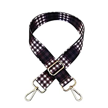 1.5  Wide Checker Purse Strap Replacement Guitar Style Canvas Crossbody Shoulder Bag Straps for Handbags with Silver Hardware  purple