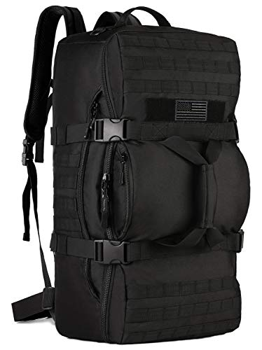 Protector Plus Tactical Travel Backpack 60L Military MOLLE Duffel Bag Luggage Suitcase Hiking Camping Outdoor Rucksack (Rain Cover & Patch Included), Black
