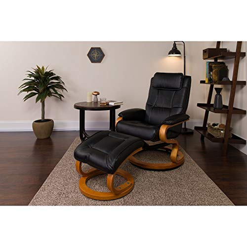 Flash Furniture Contemporary Adjustable Recliner and Ottoman with Swivel Maple Wood Base in Black LeatherSoft