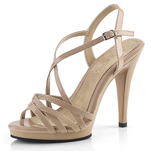Higher-Heels PleaserUSA Damen Sandaletten Flair-413 Lack Nude Gr.38